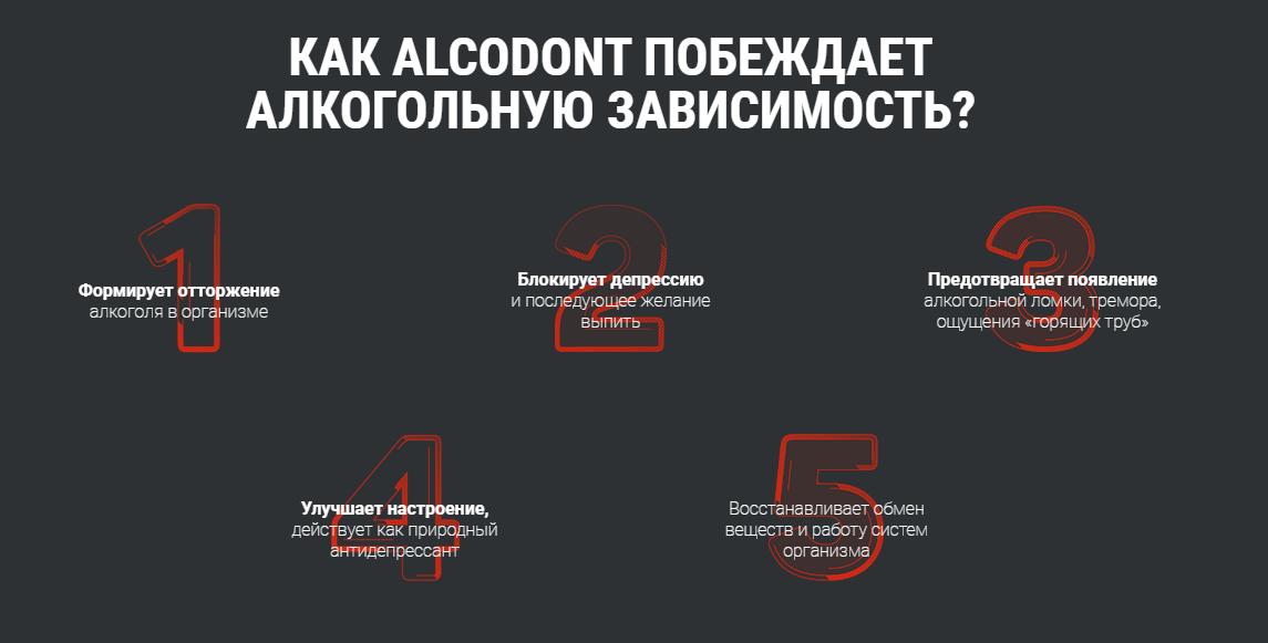 Действие препарата Alcodont